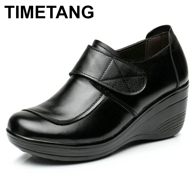 TIMETANG   2017 Wedges Genuine Leather Slip On W Pumps Oxford Shoes Platform Casual Shoes Woman Increased Internal Size 35-40 TIMETANG   2017 Wedges Genuine Leather Slip On W Pumps Oxford Shoes Platform Casual Shoes Woman Increased Internal Size 35-40
