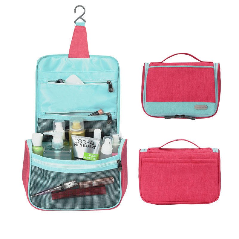 JPZYLFKZL Ladies Waterproof Polyester Travel Cosmetic Bag Hanging Wash Bag Neutral Makeup Organizer Bathroom Hanging Bags in Storage Bags from Home Garden