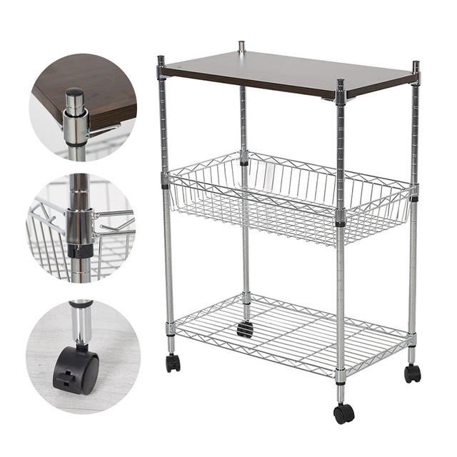 Delicieux 3 Tier Heavy Duty Storage Kitchen Office Cart Metal Basket Trolley With  Wheels Chopping Board