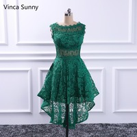 Classic Green Lace Prom Dresses A Line Knee Length 2018 Formal Gowns Important Party Dress