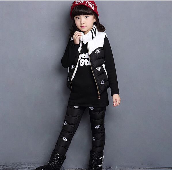 HOT 2016 high quality girls New winter han edition Fashion girl princess bump color suit warm