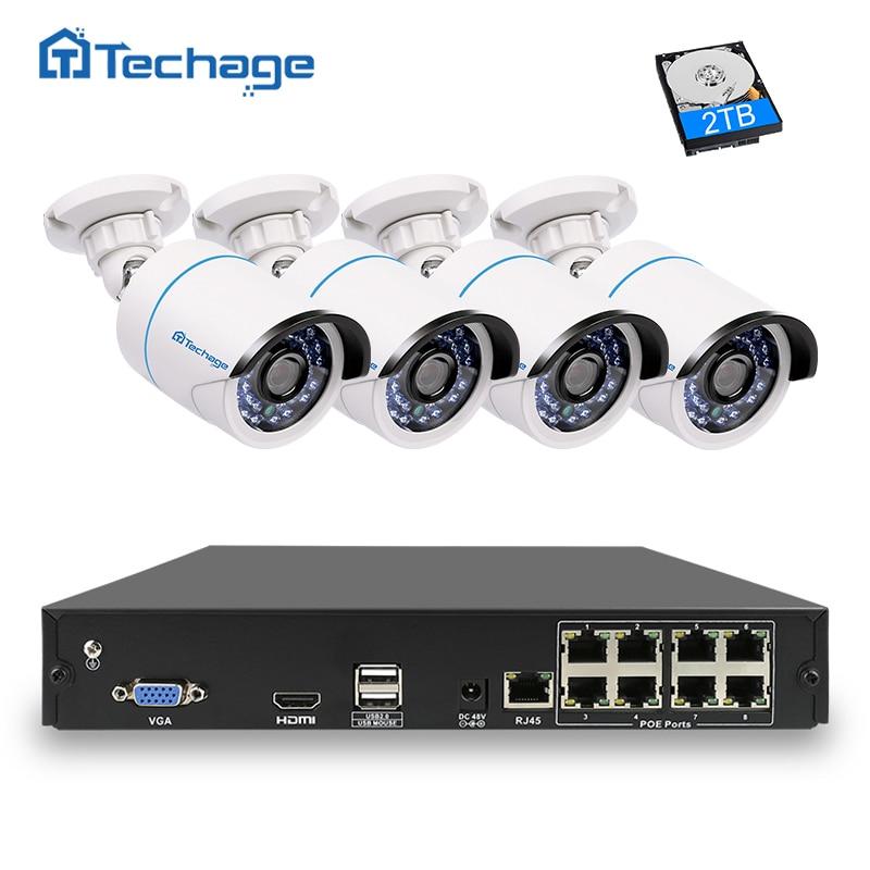 Techage 8CH 4CH 1080 P IEEE802.3af 48 В POE NVR CCTV Системы 2MP открытый Водонепроницаемый безопасности IP Камера P2P комплект видеонаблюдения
