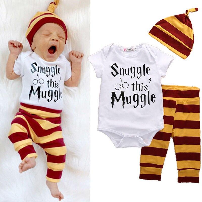 Nya 2016 baby boy klädsel set Kortärmad utskrift romper + byxor + hatt mode baby pojkar flickor kläder nyfödd 3pcs kostym