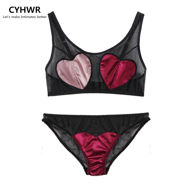 00271b5f49 CYHWR Sexy Love Heart Bra Panty Set Decorated Patchwork Lingerie Wireless  Seamless Women Adjustable Strap Underwear