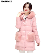 MORNIE New Plus Size Winter Women Down Cotton Jacket Long Thick Parkas Female Hooded Cotton Padded