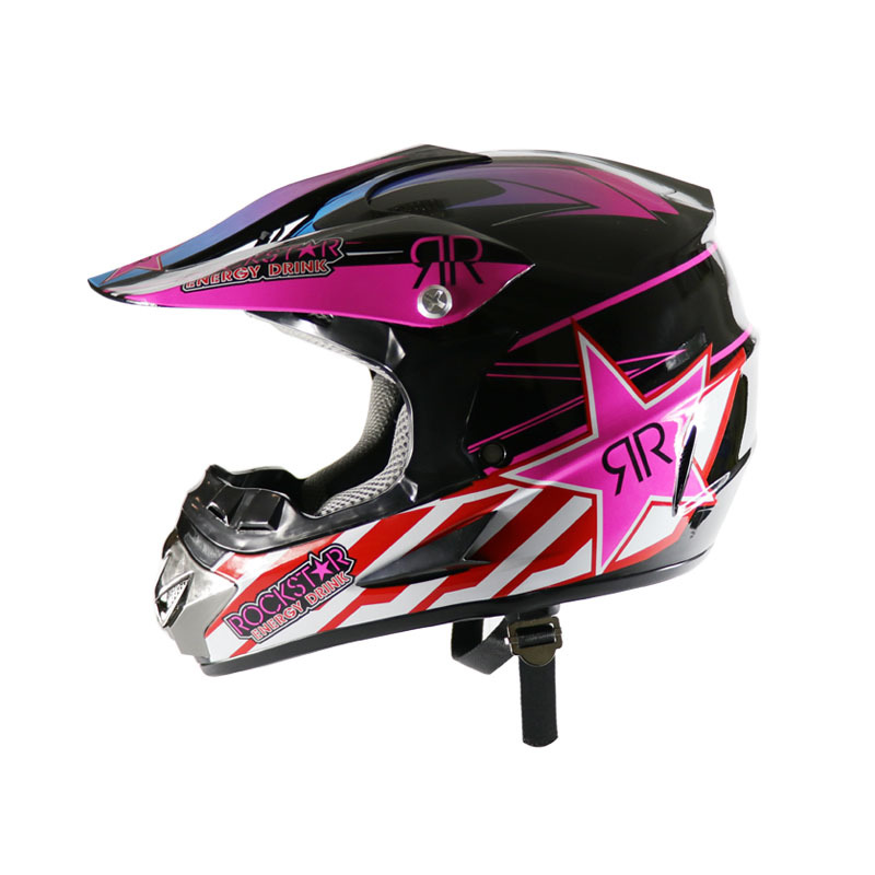 A PCS Motorcycle helmet Highway racing off-road Full face helmet off-road helmet Pink Star