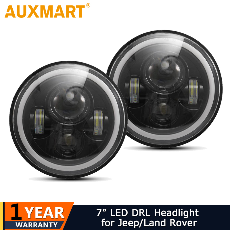 Auxmart 2x7inch Amber White Halo Angle Eyes DRL LED Headlight Bulbs Led Headlamp Driving Light 12v for Jeep Wrangler Land Rover