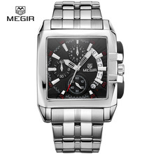Megir nouveaux hommes d'affaires de quartz montres mode marque chronographe montre-bracelet pour homme chaude heure pour hommes avec calendrier 2018