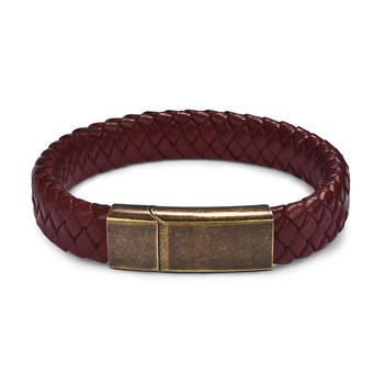 Braided Leather Men's Bracelet with Magnetic Stainless Steel Clasp Bracelets Hot Promotions Jewelry Men Jewelry New Arrivals Metal Color: Red Ancient Bronze Length: 16.5cm