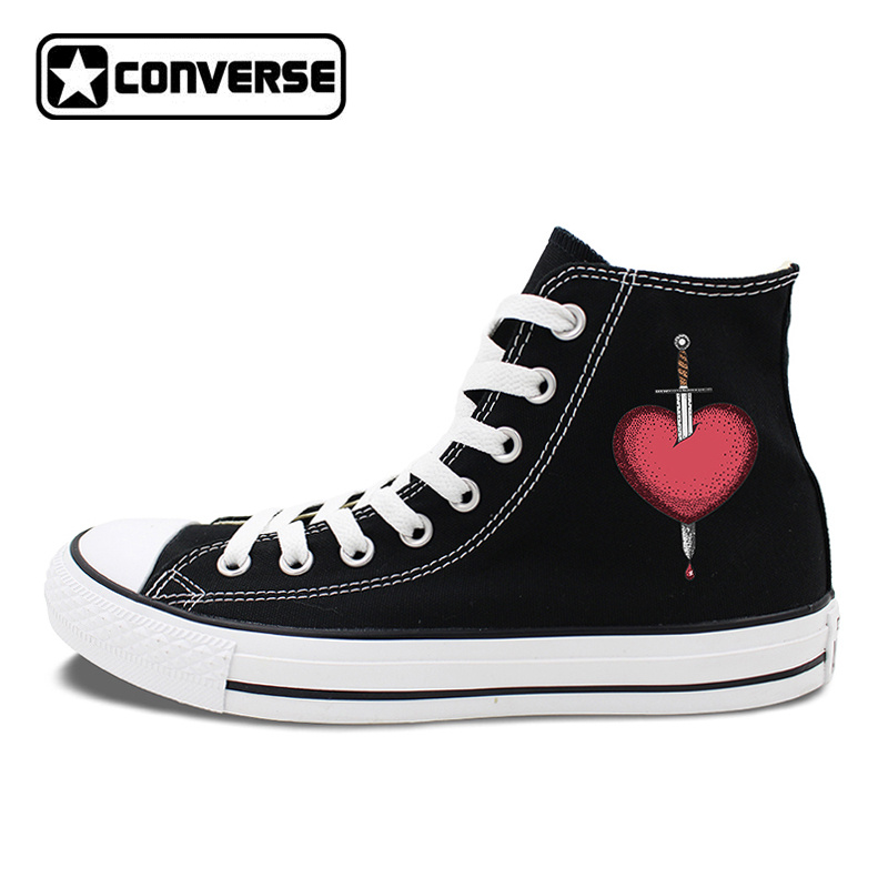 Unisex Converse Chuck Taylor Skateboarding Shoes 2 Colors White Black High Top Canvas Sneakers Design Sword Went Through Heart ...