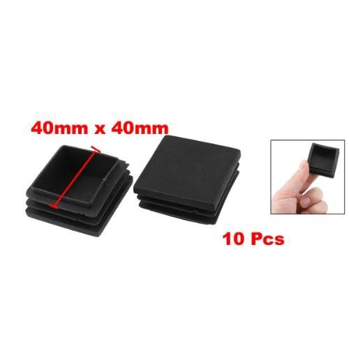 10Pcs Black 40mm X 40mm Plastic Square Tube Inserts End Blanking Caps