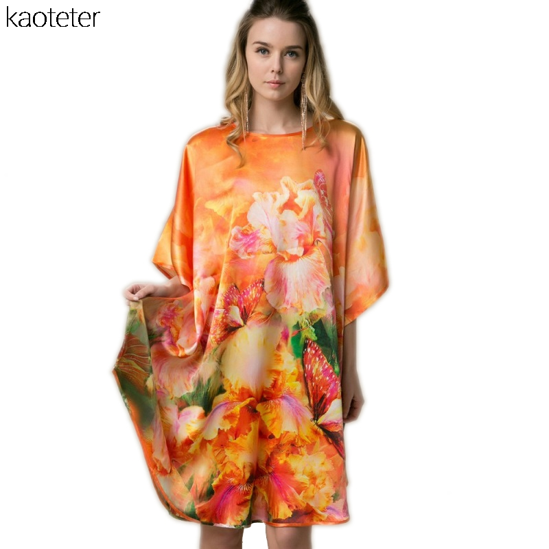 4a8e951925c 100% Real Silk Women Loose Loungewear Night Skirt Homewear One Piece Plus  Size Home Wear Hand Painted Orange Nightgowns YBP047-in Nightgowns    Sleepshirts ...