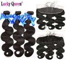 Lucky Queen Hair Products Brazīlijas ķermeņa viļņa komplekti ar frontālo 4 gab / partiju 100% cilvēka matu paketes ar priekšējiem neiedalošiem matiem