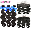 Lucky Queen Hair Products Brazilian Body Wave Bundles With Frontal 4pcs/lot 100% Human Hair Bundles With Frontal Non Remy Hair