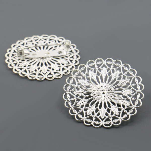 10pcs/lot Round Flower Slice Brooch Settings Silver Color Punk Style Spacers Base Safety Pin Brooch DIY Findings Accessories