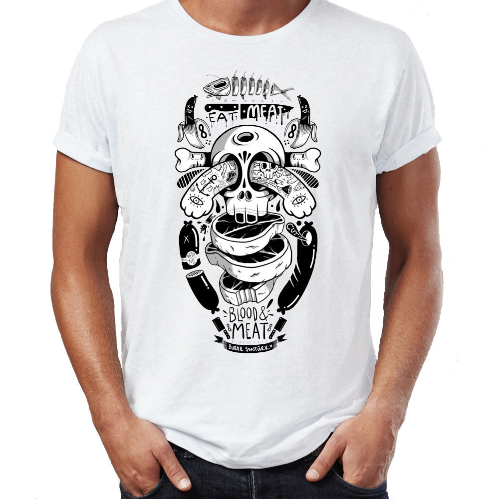 T Shirts For Sale Fashion Oversize Style Tee Shirts Styles Crew Neck Short Eat Meat Tattoo Blood Meat Logo Art Printing Mens Shi