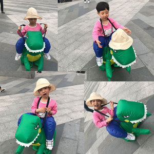Image 2 - Adulti O Bambini Gonfiabile Ride On Walking Dinosauro Animale Cosplay Costume Di Natale Ringraziamento Per Wome Bambini Fancy Dress