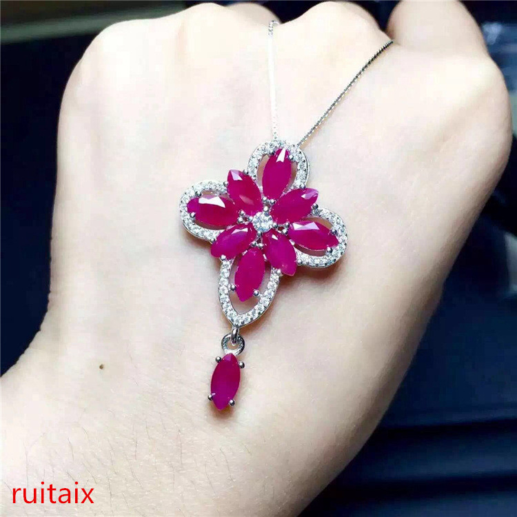boutique jewels 925 sterling silver encrusted with natural ruby pendant + necklace with argyle antique jewelry