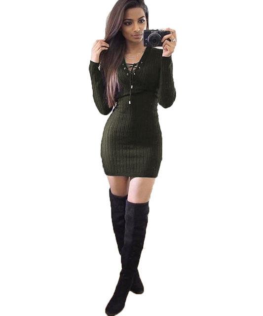 32c6b3f8c8 Online Shop Ebizza Autumn Winter Knitting Short Sweater Dress Women ...