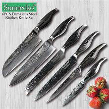 SUNNECKO 6 шт Кухня Набор ножей Santoku хлеб косточки для очистки овощей поварской нож дамасская сталь VG10 Сталь Pakka деревянной ручкой мясо режущих инструментов