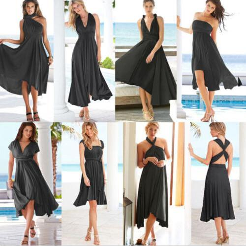 Boutique Korean sexy dress Maxi tunic Flirty Multi Way Wrap Convertible Infinity Swing dresses