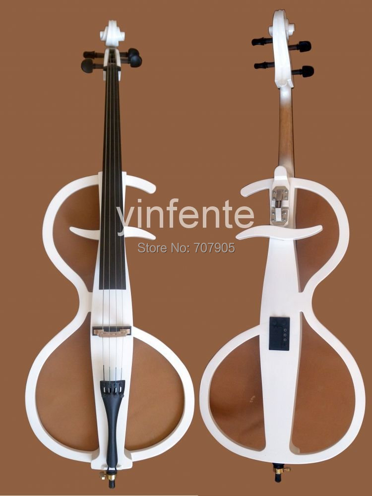 Один 4/4 полный размер новая электрическая Виолончель мощный звук белая Массивная древесина