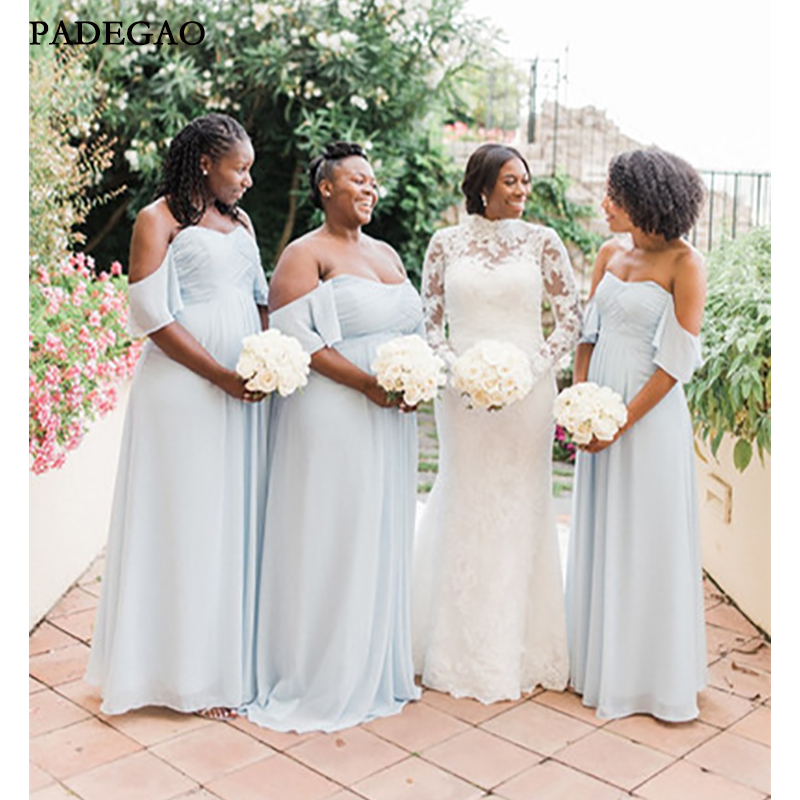 Dusty Blue Country Bridesmaid Dresses With Plus Size 2019 Off Shoulder Ruffles Pleat African Bohemian Beach Wedding Party Guest