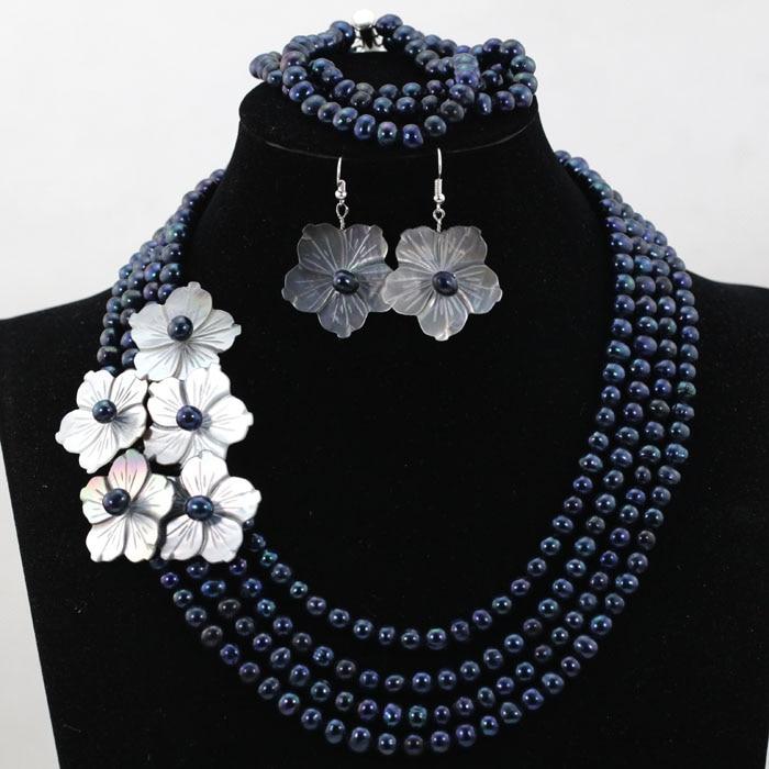 Nouveau ensemble de bijoux de fête perles d'eau douce noires ensemble de bijoux de mode coquille fleur ensemble de bijoux livraison gratuite HX531