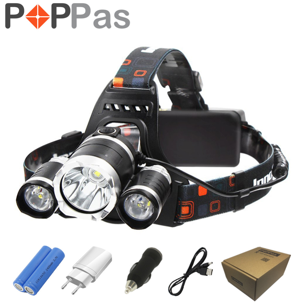 POPPAS LED Headlamp 10000LM XML-T6  Headlight  Rechargeable Flashlight Hunting 18650 Battery Charger