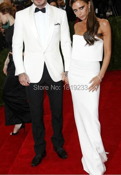 Aliexpress.com : Buy White Jacket Black Pants Groom Tuxedos Best ...
