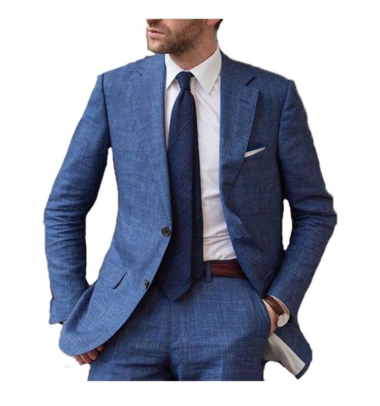 Trajes informales de fiesta de playa para hombre con diseños azules, traje Formal de hombre de 2 piezas chaqueta pantalón-in Trajes from Ropa de hombre    1