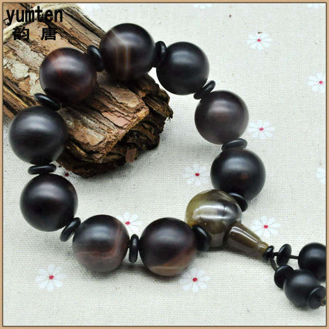 Yumten 2017 Round Obsidian Bracelet Armbanden Pulseras Hombre Men Fine Jewelry Natural Stone Beads New Fashion Luxury Bangles