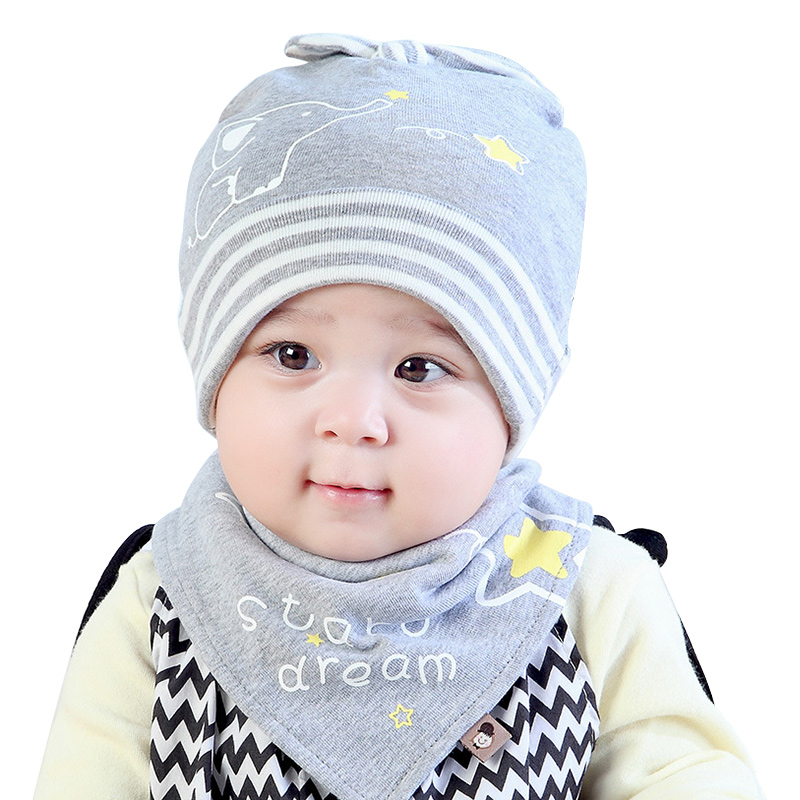 Star Cotton Baby Hat Scarf Set Solid Print Newborn Tire Hat + Triangle Baby Saliva Towel Breathable Autumn Infant Beanie Hats ...
