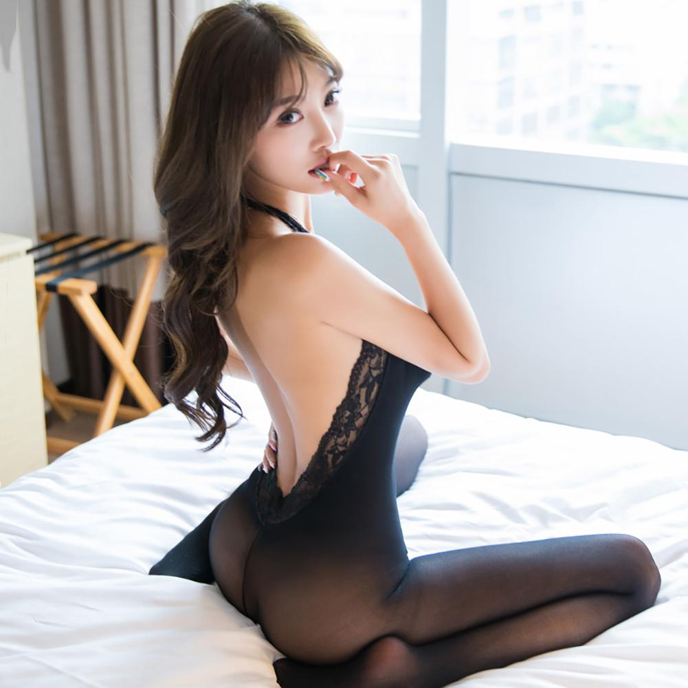Women Transparent Sexy Lingerie Fancy Sexy Open-Crotch Halter Lace Underwear Body Stockings Jumpsuit Sheer Leotard Underwear