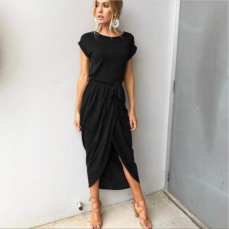 Women O-Neck Maxi Dress Summer Short Sleeve Solid Dress With Belt 3