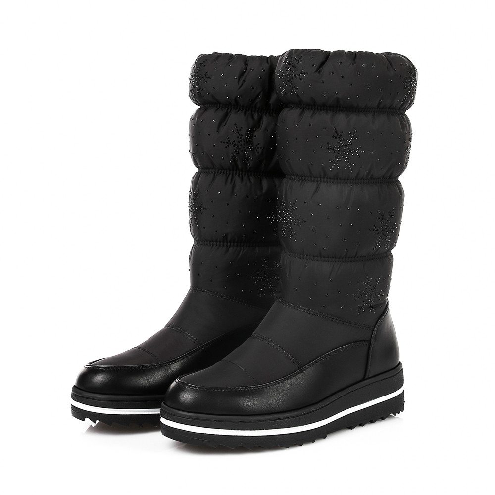 Winter  Women's Keep Warm  Shoes Round Toe Elastic Force Thick Bottom Snow Boots 2018 Chaussures femme#g10