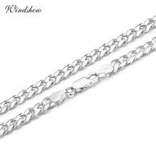 925 Sterling Silber Curb Kette Link Halsketten Männer Schmuck collares kolye Collier Hiphop 50 cm 55 cm 60 cm 4mm 6mm halskette collane