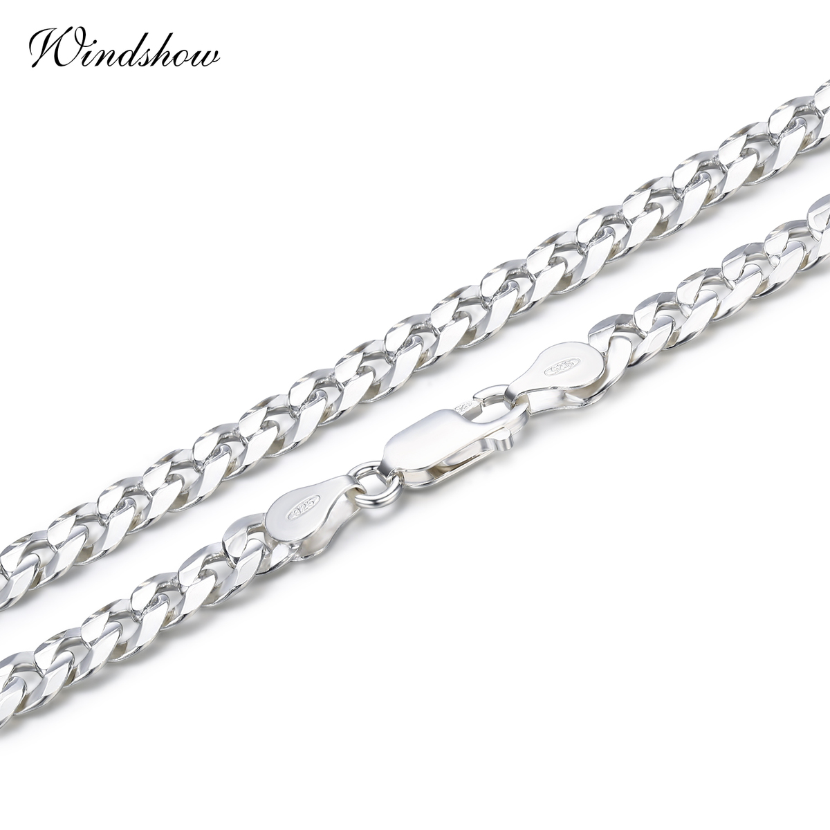 windshow 925 Sterling Silver Necklaces Men Jewelry collares
