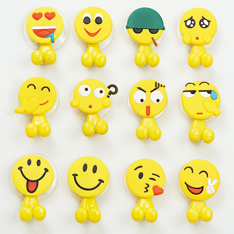 Emoji Sucker Toothbrush Holder Suction Hooks Multifunctional Expression Suction Cup Children Bathroom Accessories Eco-Friendly