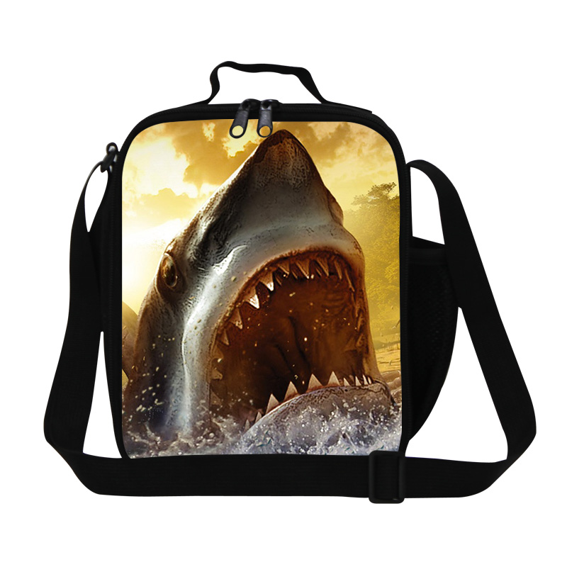 Hot Sale Animal 3D Printing Shark Lunch Bag For Kids Small Shoulder Picnic Food Bags Insulted School Thermo Thermal Lunch Box