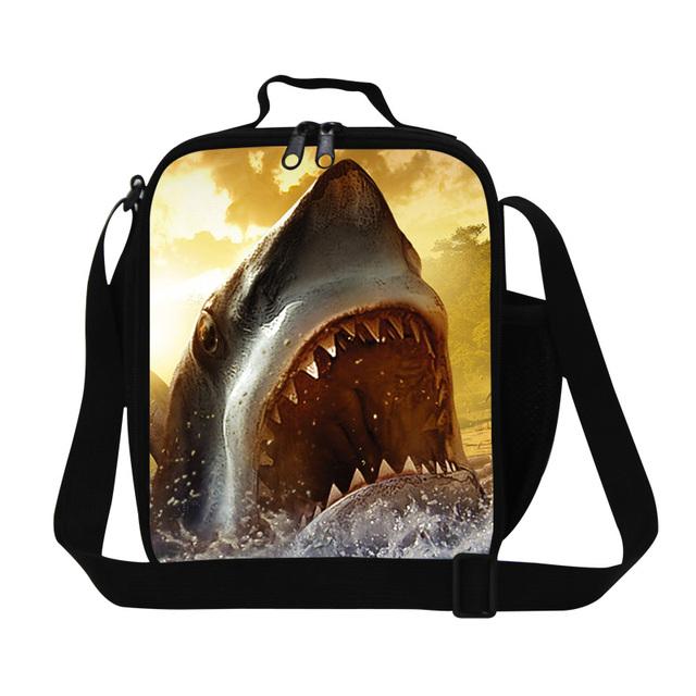 Venda quente Animal Impressão 3D Tubarão Saco do Almoço Para As Crianças pequena bolsa de Ombro Escola Sacos de Comida De Piquenique Insultado Almoço Thermo Térmico caixa