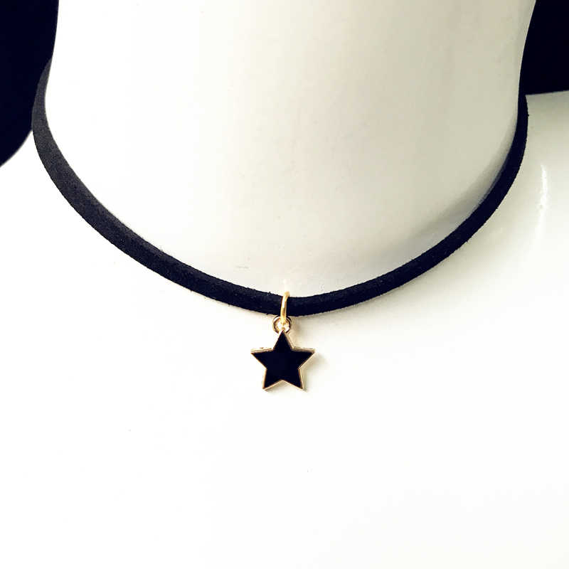 fashion Torque Jewelry Crown Five Star Smile Necklace Pure Black Velvet With Moon Triangle Geometric Crystal Pendant Necklace