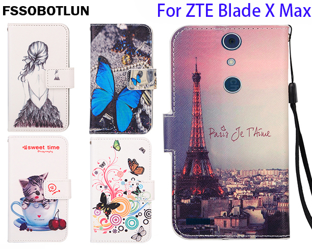huge discount b5bc2 17afe US $4.49 10% OFF|FSSOBOTLUN,For ZTE Blade X Max Z983 Phone Flip Case  Fashion Painting Patterns PU Leather Wallet Cover With 2 Card Slots -in  Flip ...