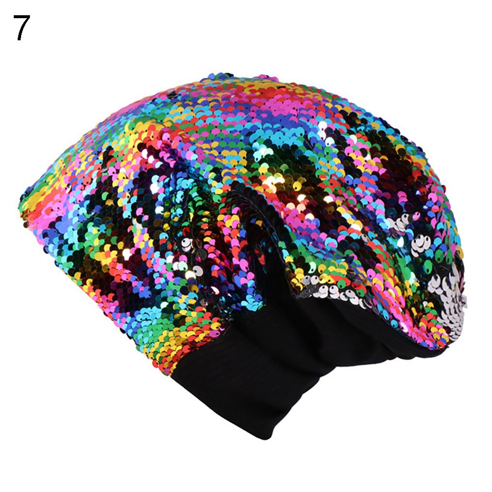 Women Knitted Paillette Bling Shinning Cap Casual Glossy   Beanies   Hat Hip-Hop   Skullies     Beanie   Sequin Caps Soft Warm Slouch Hat
