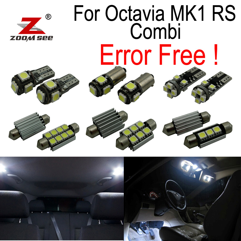 12pcs license plate lamp LED bulb Interior dome Light Kit for Skoda Octavia 1 MK1 MK I RS Combi 1U5  Estate Wagon (1996-2004) 27pcs led interior dome lamp full kit parking city bulb for mercedes benz cls w219 c219 cls280 cls300 cls350 cls550 cls55amg