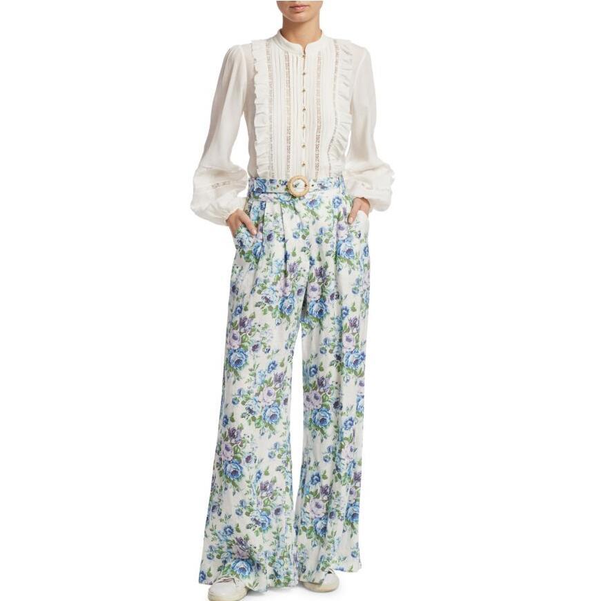 Floral Pierna Pantalones Mujeres Wallpaper Slouch Bucles Ancha Azure Impresión Bohemian Papel Breeze Con Tapiz Cinturón Tatzn