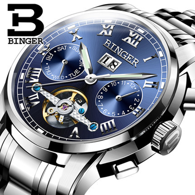 цены Genuine Luxury Switzerland BINGER Brand Men automatic mechanical self-wind movement sapphire watch waterproof hollow Tourbillon