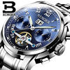 Genuine Swiss BINGER Brand Men Automatic Mechanical Self Wind Movement Sapphire Watches Waterproof Hollow Tourbillon Table