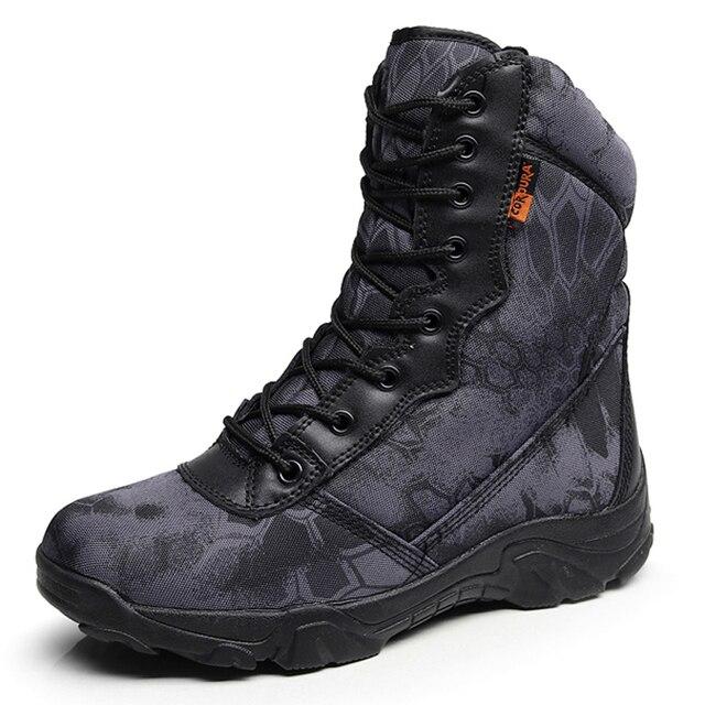 Erkekler Taktik Askeri Çizmeler Sonbahar Kış Su Geçirmez Deri asker botu Çöl İş Güvenlik Ayakkabıları Ahşap Land Savaş yarım çizmeler