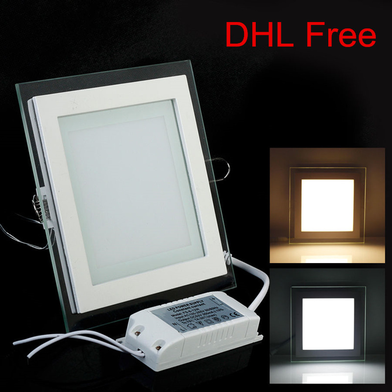 20pcs/lot or 30pcs/lot 6W LED Square Recessed Glass LED Downlight Free shipping
